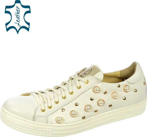 b4430bdea69 OLIVIA SHOES Biele tenisky s perlami DTE056 - Glami.sk