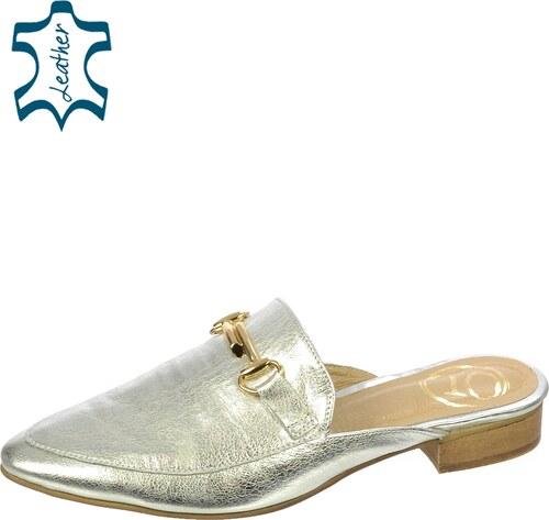 OLIVIA SHOES Strieborné šľapky so zlatou ozdobou DSL034 - Glami.sk 0d58d9051e9