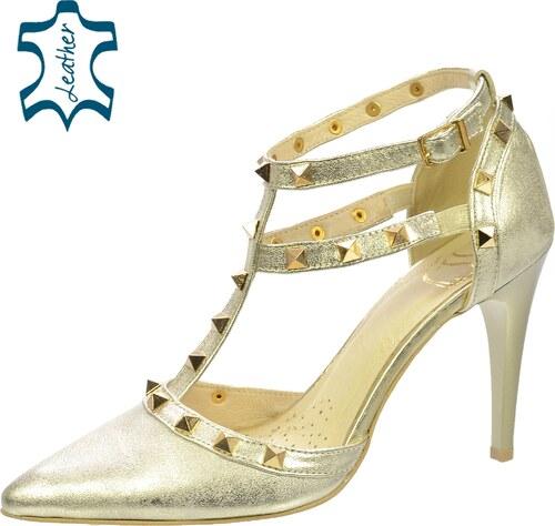 b6a41212c839 OLIVIA SHOES Zlaté sandále na podpätku s vybíjanými prvkami DSA039 ...