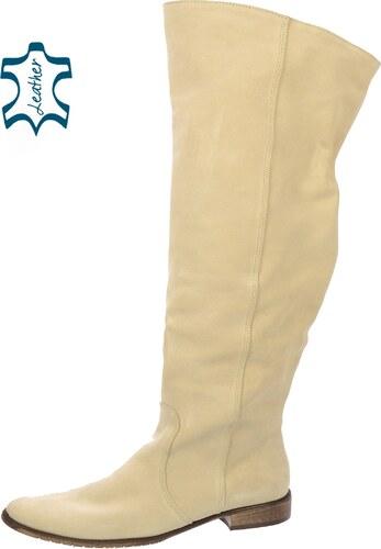 6246fa0b74 OLIVIA SHOES Béžové kožené čižmy nad kolená K200 - Glami.sk