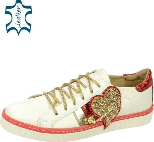 3da40f196a7 OLIVIA SHOES Bielo- červeno- zlaté tenisky so srdcom DTE060 - Glami.sk