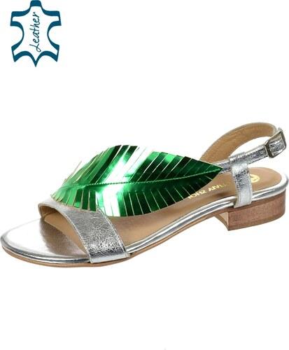 102150923f37 OLIVIA SHOES Strieborné nízke pohodlné dámske sandále s listom DSA051