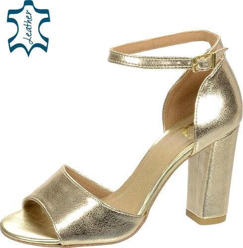 54041a7f6217 OLIVIA SHOES Zlaté dámske sandále na hrubom podpätku DSA049 - Glami.sk