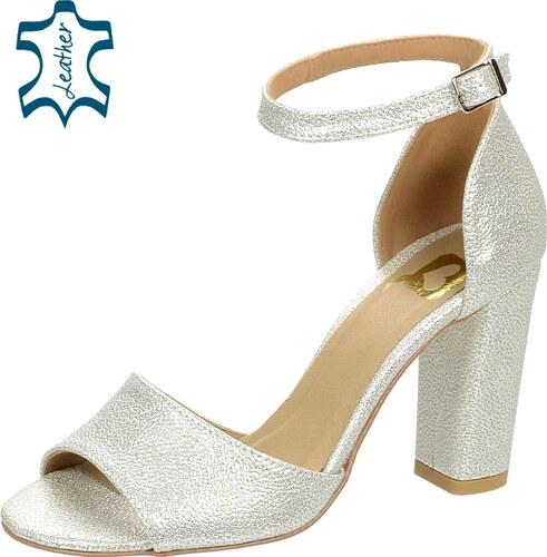 d6ae396c019c OLIVIA SHOES Strieborné dámske sandále na hrubom podpätku DSA049 ...