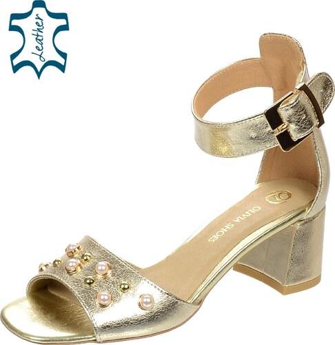cbc58e8a60de OLIVIA SHOES Zlaté sandále na hrubom podpätku s perlami DSA054 ...