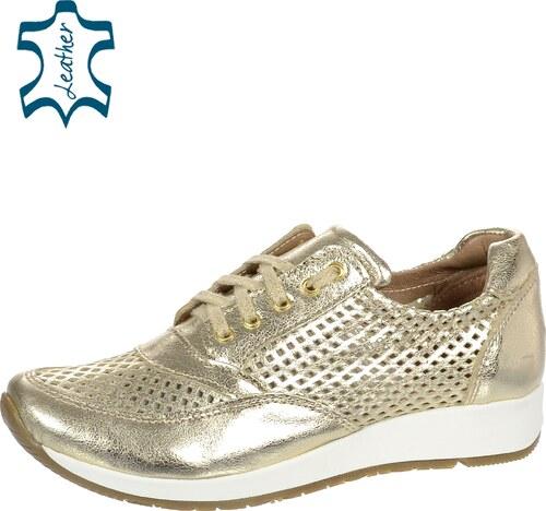 61f36e6af5d OLIVIA SHOES Zlaté perforované kožené tenisky 500D - Glami.sk