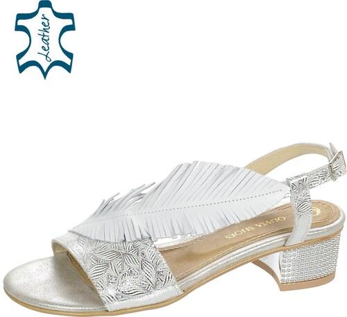 5a19677b6598 OLIVIA SHOES Strieborné nízke pohodlné dámske sandále v tvare listu DSA051