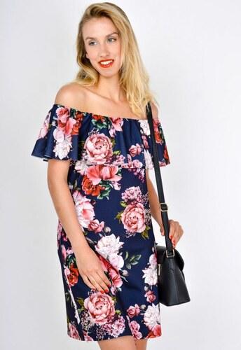 7049d90c531f The SHE Tmavomodré letné kvetinové dámske šaty s volánom - Glami.sk