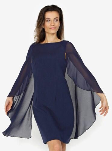 560e18433c5a Tmavomodré šaty s volánovými rukávmi VERO MODA Hannah - Glami.sk