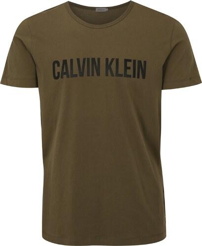 15e2a5213bf2 Kaki pánske tričko s potlačou Calvin Klein Jeans Tao - Glami.sk