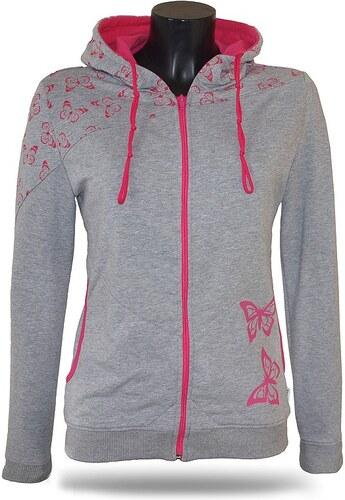 Barrsa Dámska mikina s kapucňou na zips Barrs Butterfly Grey   Pink ... 5c4e7e5f437
