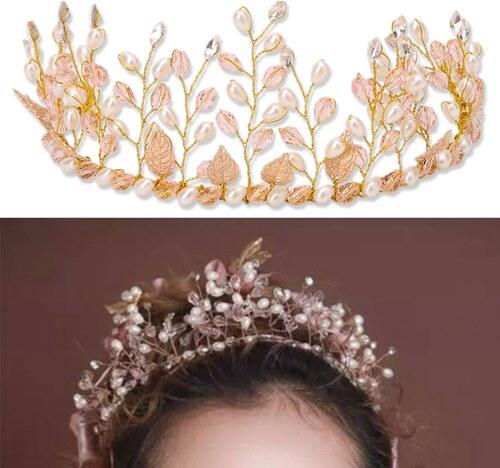 3187150bab5 B-TOP Svatební ozdoba do vlasů LIST S PERLAMI A KAMÍNKY - bílá zlatá ...