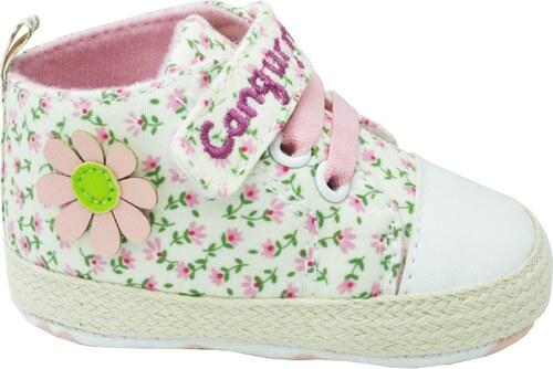 Canguro Dievčenské capáčky s kvetinami - ružovo-biele - Glami.sk aa34b852237