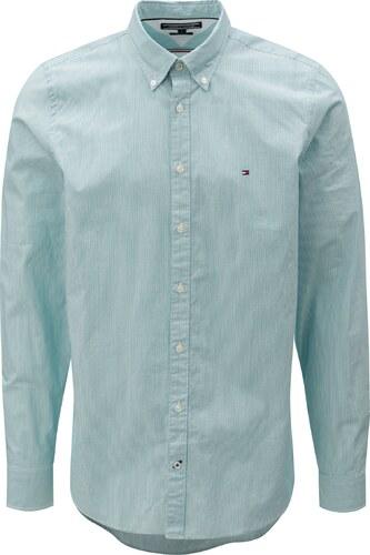 f89151a2e01 Bílo-zelená pánská pruhovaná slim fit košile Tommy Hilfiger - Glami.cz