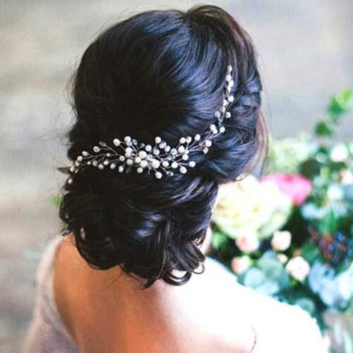 B-TOP Svatební hřeben do vlasů S PERLAMI A KAMÍNKY - bílá stříbrná ... 06ebab80c5