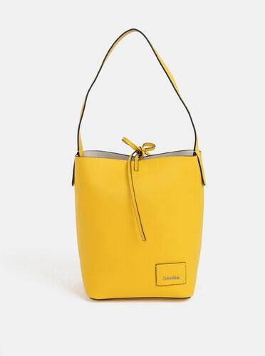 8acd6a75ce Žltá veľká koženková kabelka s puzdrom Calvin Klein Jeans - Glami.sk