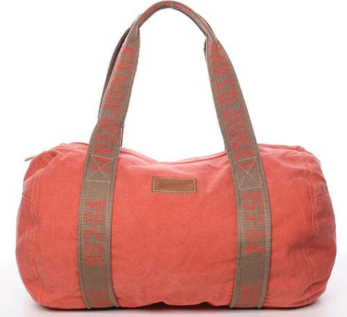 f889ca231c Dámska látková oranžová kabelka cez plece - David Jones Molly oranžová