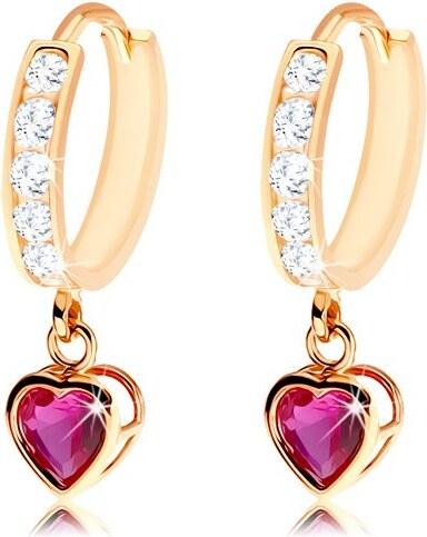 Šperky eshop - Kĺbové náušnice zo zlata 585 - kruh zdobený čírymi zirkónmi 72d96075029