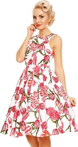 DOLLY AND DOTTY Retro šaty Annie bílé s tulipány - Glami.cz 62137d6fdb