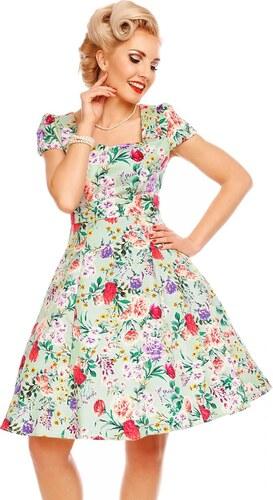 -100 Kč DOLLY AND DOTTY Dámské retro šaty Claudia mentolové s květinami a21ac1680a