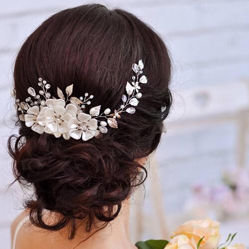 B-TOP Luxusní svatební ozdoba do vlasů KVĚTY - zlatá bílá - Glami.sk b0228ab20f