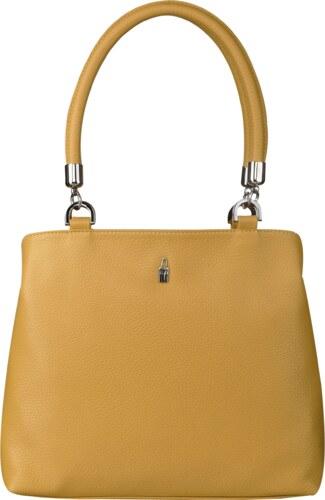 8281830e78 Elegantná kožená kabelka veľká cez rameno žltá Wojewodzic 31769 ...