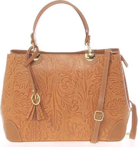 bf0d41f254 Originální dámská kožená kabelka světle hnědá - ItalY Mattie hnědá ...