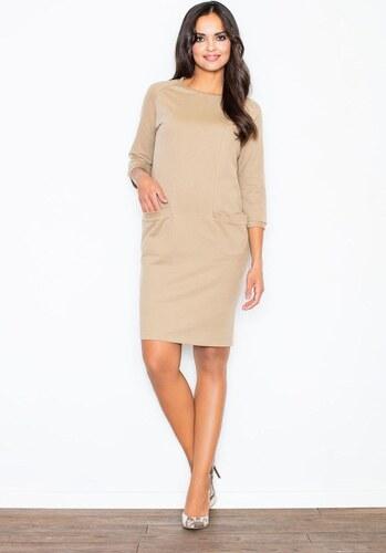 FIGL Béžové elegantné šaty s vreckami - M205 - Glami.sk 7e2e80596b6