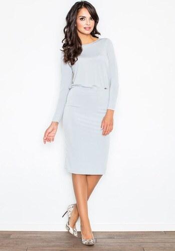 3f075056b0d9 FIGL Šedé šaty s odhaleným chrbátom - M326 - Glami.sk