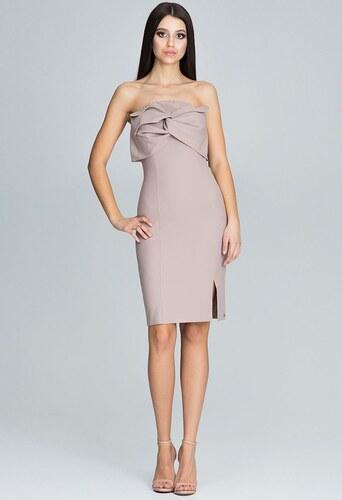 FIGL Elegantné béžové šaty bez ramienok M571 - Glami.sk 1847cc1c8bf