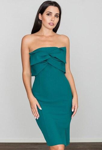 FIGL Elegantné zelené šaty bez ramienok M571 - Glami.sk 7fca5106eca