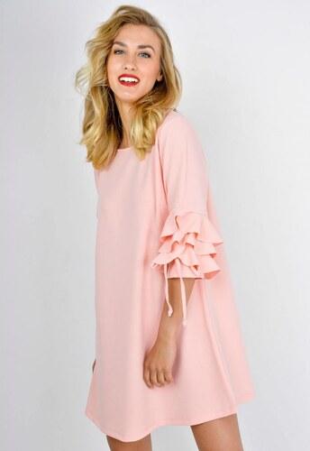 The SHE Púdrovo ružové šaty s volánmi na rukávoch - Glami.sk 6314ae2d2d0