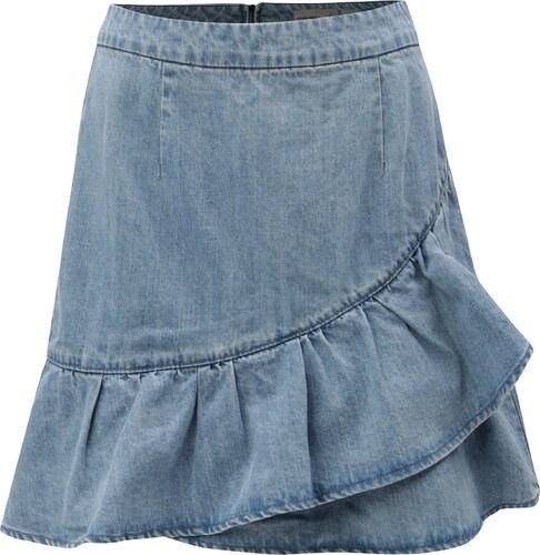 1c40c895b244 Světle modrá džínová sukně s volánem VERO MODA Penny - Glami.cz