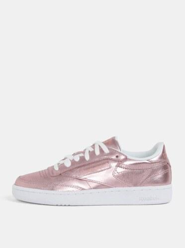 Ružové dámske metalické kožené tenisky Reebok Club C 85 - Glami.sk 69920e0f86