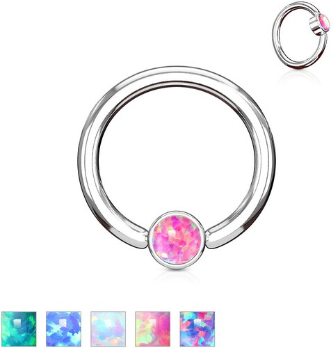 5819bcb4e Šperky eshop - Piercing z oceli 316L stříbrné barvy, kroužek se syntetickým  opálem W11.