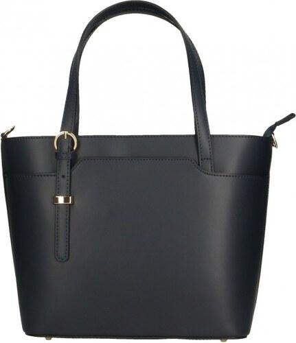 0cc9caac415e ... Kožená luxusní tmavě modrá kabelka přes rameno mirabelle VERA PELLE  26084