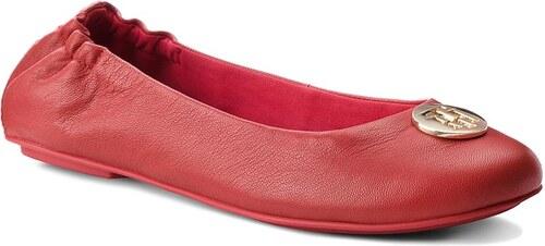 -35% Baleríny TOMMY HILFIGER - Flexible Ballerina Leather FW0FW03401 Tommy  Red 645 8422189e5d
