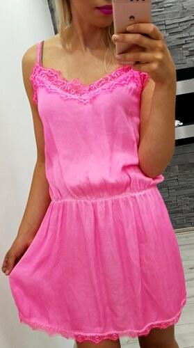 9bbd2697daf -18% MODA ITALIA Neonově růžové dámské šaty  tunika zdobené krajkou