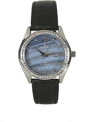 Dámské elegantní hodinky s modrým ciferníkem a kamínky SLAVA - Glami.cz 2d214259c0
