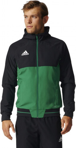 5309f22605257 Pánska bunda adidas Performance TIRO17 PRE JKT (Čierna / Zelená / Biela)