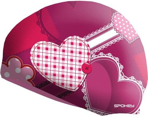 Spokey STYLO Junior Dětská plavecká čepice růžová srdce 42a937280d