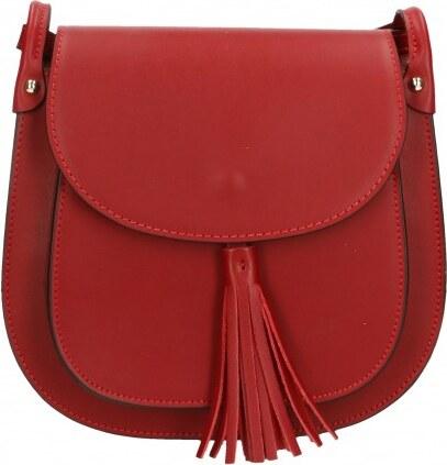 ... Kožená větší tmavší červená crossbody kabelka na rameno bella VERA  PELLE 21986 06918a329dc