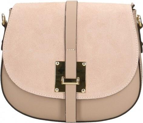 -15% -8% Kožená větší růžová crossbody kabelka na rameno jordane VERA PELLE  21986 31a19f4d52a