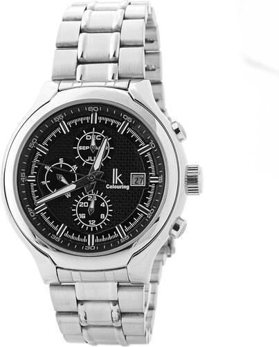 IK Colouring Strieborné hodinky s čiernym ciferníkom - Glami.sk db6dde4c6e