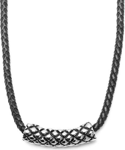 Fort Tempus Čierny kožený náhrdelník s motívom kris-kros - Glami.sk 572cda3008e