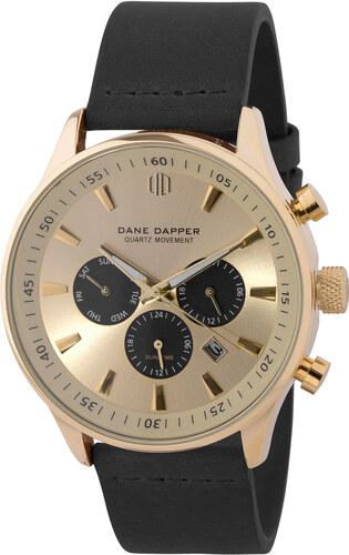 Dane Dapper Čierne hodinky Troika s ciferníkoch v zlatej farbe ... a6fb6da0767