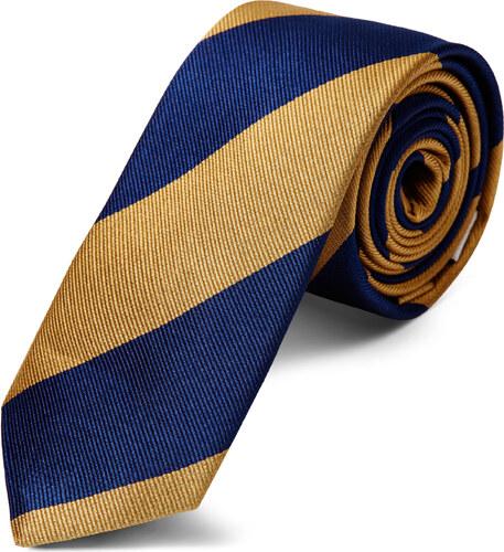 d91d58da17 TND Basics Arany-tengerészkék csíkos selyem nyakkendő - 6 cm - Glami.hu