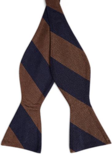 f1ad5a8c0c TND Basics Tengerészkék-barna csíkos selyem önkötő csokornyakkendő ...