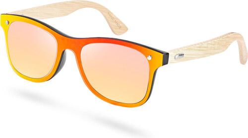 Paul Riley Slnečné okuliare s žlto-červenými obrúčkami a bambusovými  nožičkami ddff7898ffa