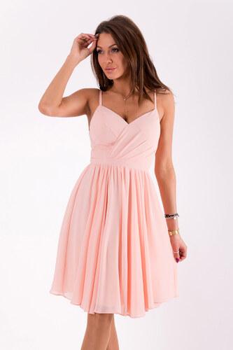 Dámské společenské šaty EVA   LOLA na ramínka středně dlouhé růžové ... 1342dfae0b